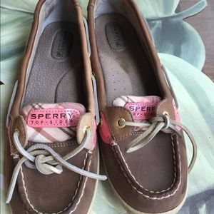SPERRY TOP SIDER LEATHER PINK &PLAID SIZE 9